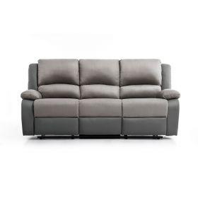 Canapé de relaxation  3 places en PU gris et microfibre grise
