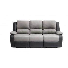 Canapé de relaxation  3 places en PU noir et microfibre grise