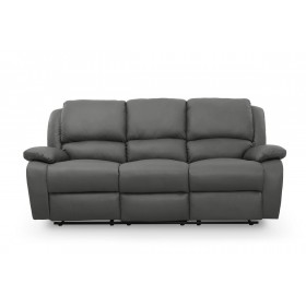 canapé relax 3 places en simili cuir gris