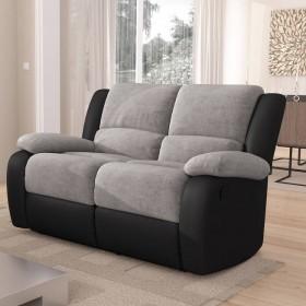 Canapé de relaxation  2 places en PU noir et microfibre grise