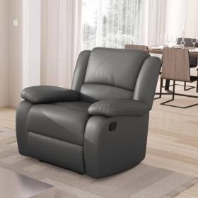 Fauteuil de relaxation 1 place en simili cuir gris
