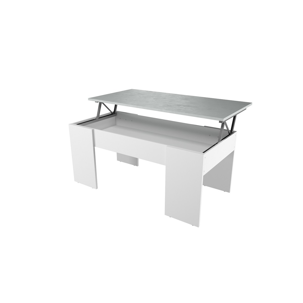 Table Basse Modulable Contemporain Blanc Béton 100x50 Cm
