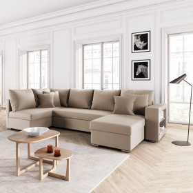 Canapé d'angle panoramique SALMA 6 places convertible tissu beige