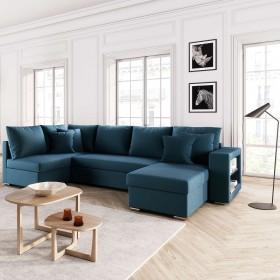 Canapé d'angle panoramique SALMA 6 places convertible tissu bleu canard