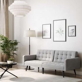 Canapé droit scandinave DELTA convertible 3 places en tissu gris clair