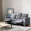 Canapé de relaxation scandinave manuel 3 places en tissu et pieds bois hêtre