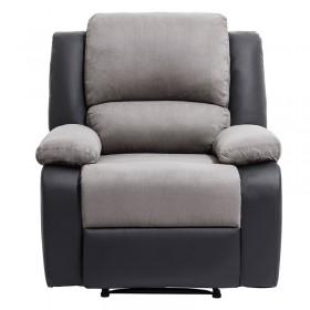 Fauteuil de Relaxation 1 place en simili cuir noir et microfibre grise