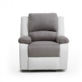 fauteuil relaxation simili gris blanc