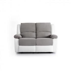 Canapé de relaxation  2 places en PU blanc et microfibre grise